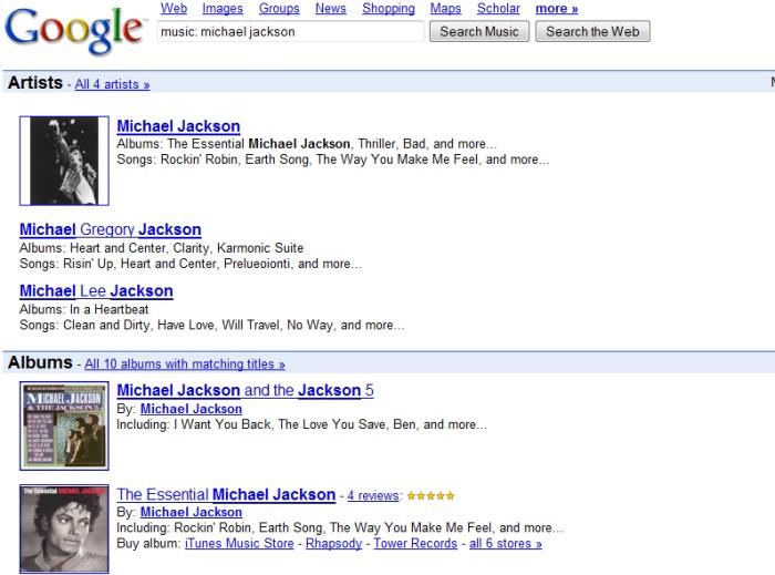 Pesquisa por artista no Google. Vem aí o Google Music?