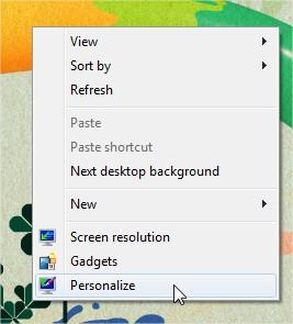 Abra a janela de personalização pelo menu de contexto.
