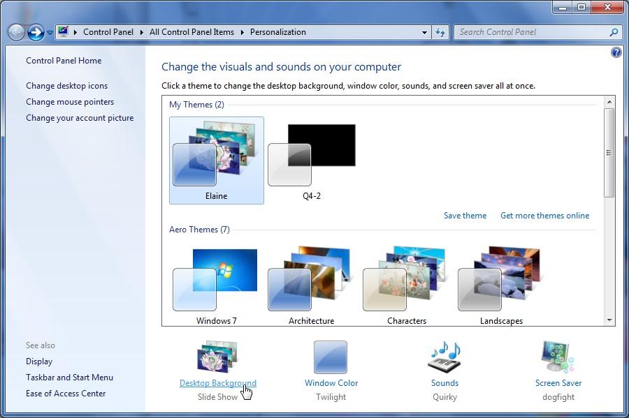Selecione a opção Desktop Background.