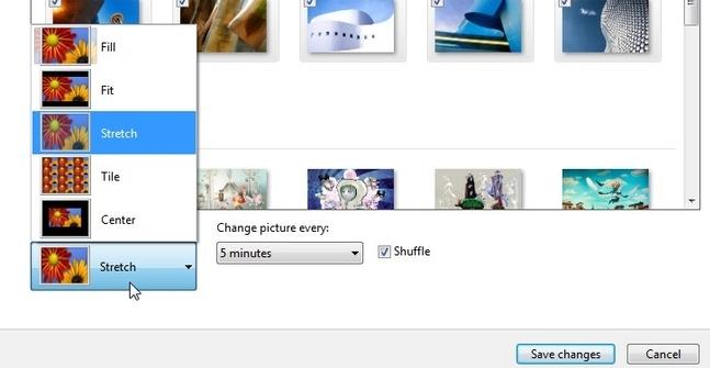 Configure o estilo e o tempo de cada imagem.