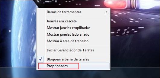 Abrindo as propriedades da Barra de Tarefas
