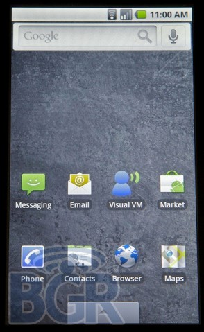 Interface principal do Android 2.0