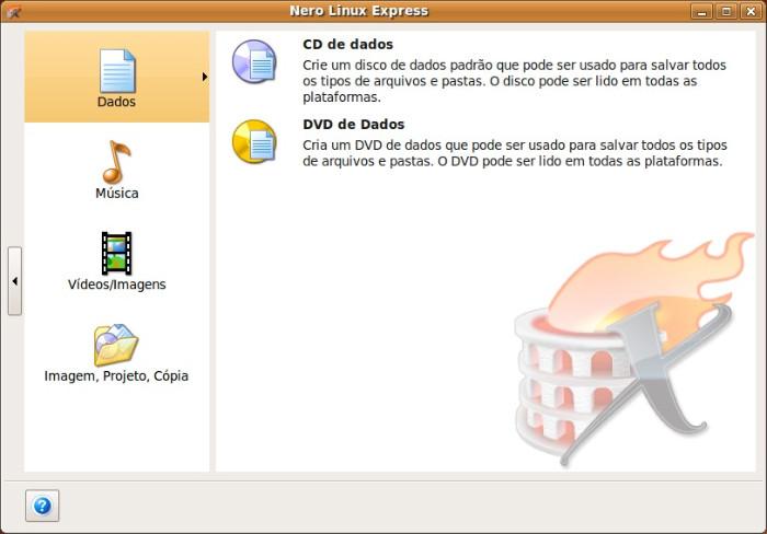 Interface de Nero Linux Express