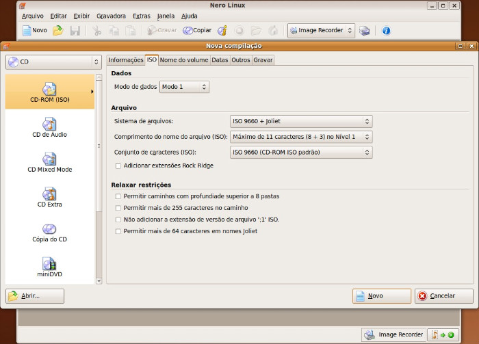 Interface do Nero Linux