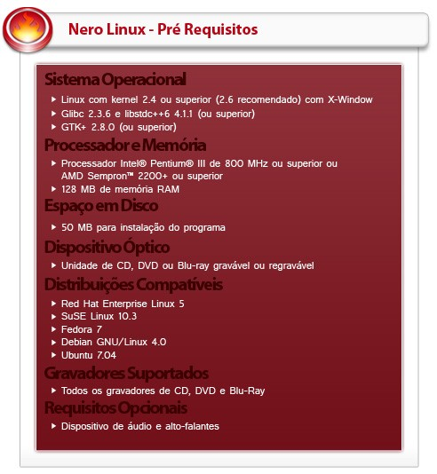 Requisitos mínimos para Nero Linux 4