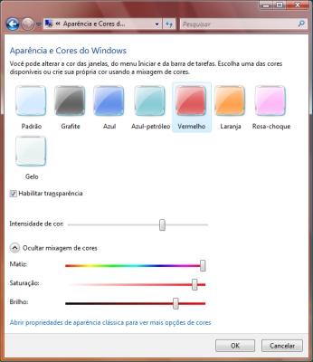 Você pode configurar os tons da Área de Trabalho do Windows Vista.