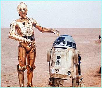 Os androides C-3P0 e R2-D2, de Star Wars