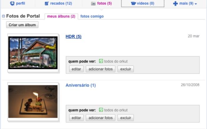 Visualização de álbuns de fotos no novo Orkut