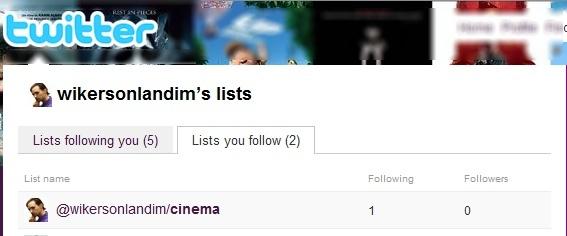 Visualize as listas em que seu perfil foi inserido e também as listas que você segue