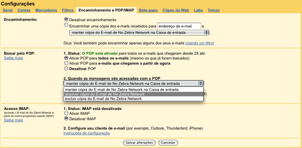 Configurações no Gmail.