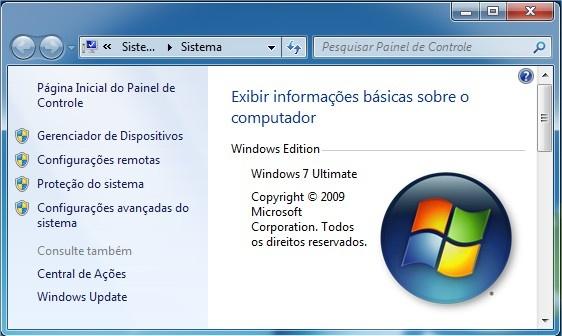 Sistema com informações do computador