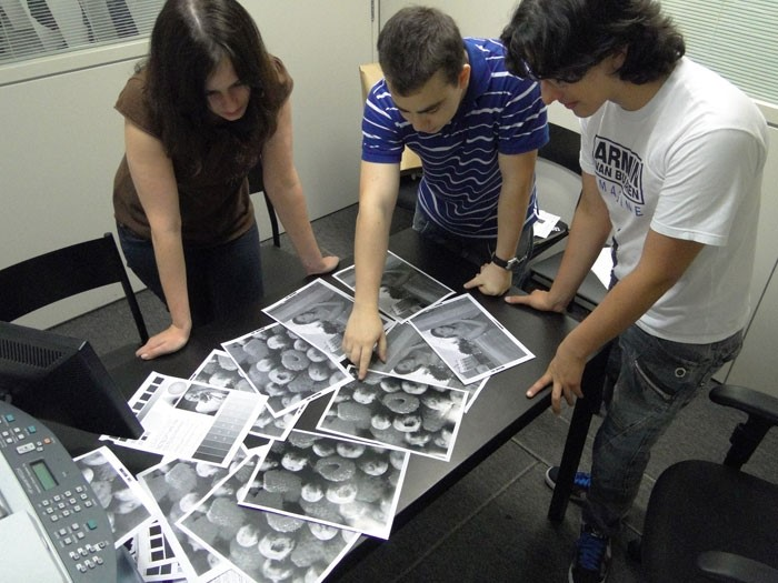 Equipe analisando as imagens de teste