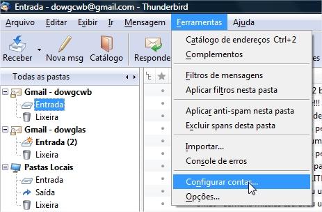 Acesse as configurações de contas de email.