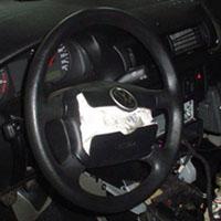 O airbag fica guardado em pontos estratégicos do veículo