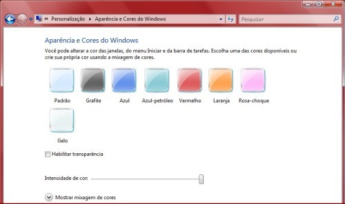Configure as cores do Windows 7 e Vista