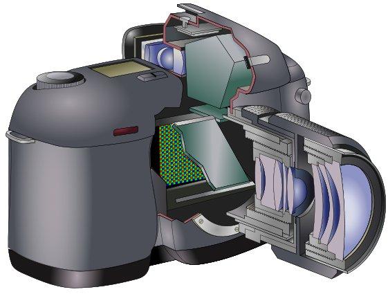 Recorte de uma dSLR mostrando espelhos, prismas e demais componentes