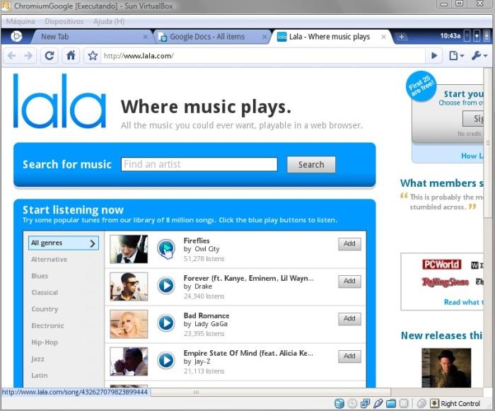 Lala é um dos serviços recomendados na página inicial