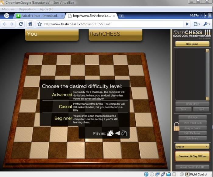 Já que você não tem nenhum arquivo, que tal jogar xadrez online?