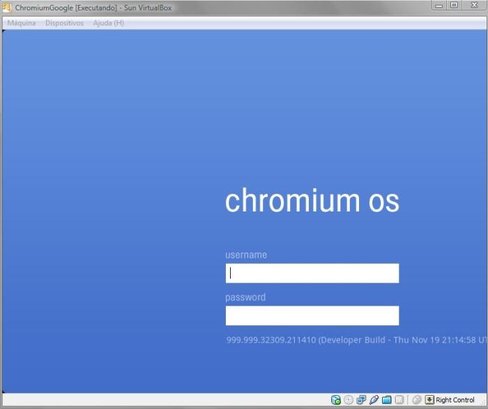 Tela de login no sistema do Chromium OS