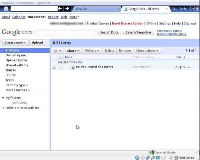 Google Docs executado via Chromium