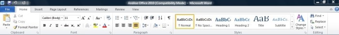 Visual de menu do Office 2010