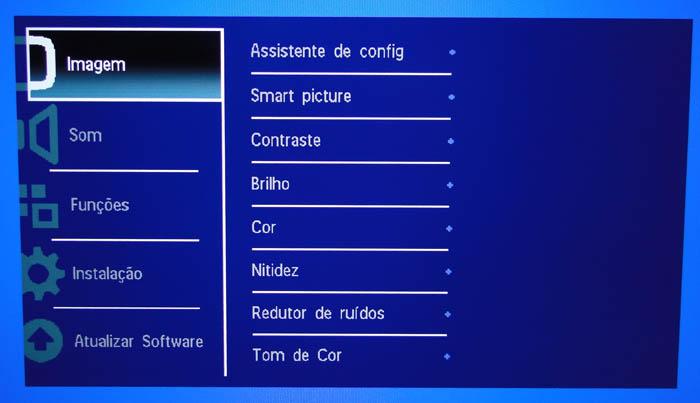 Visual de um dos menus: acesso a todas as funções