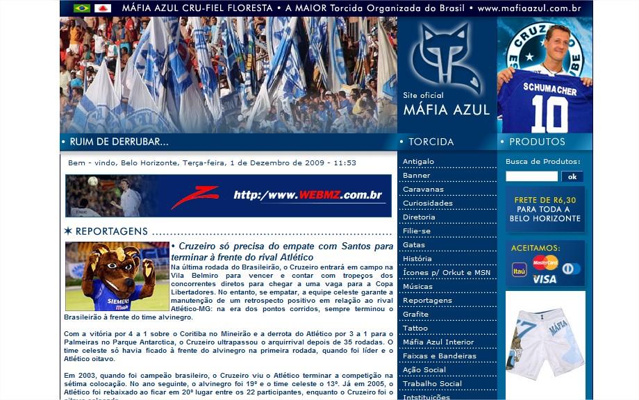 Site da Máfia Azul, torcida organizada do Cruzeiro