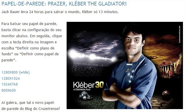 Wallpaper Kléber, the Gladiator - Blog do Cruzeirense
