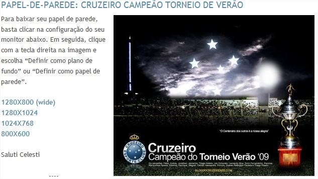 Wallpaper Cruzeiro Campeão Torneio de Verão - Blog do Cruzeirense