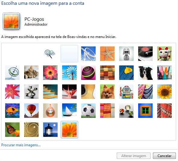 Galeria de imagens padrão, com arquivos em JPG, GIF, BMP e PNG adicionados