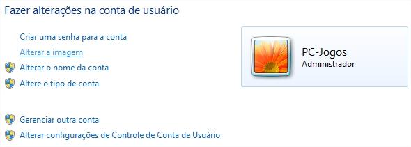 Alterando a imagem da conta de usuário