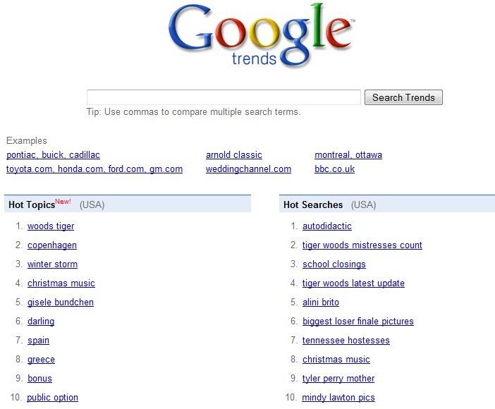 Google trends e o que bomba na web