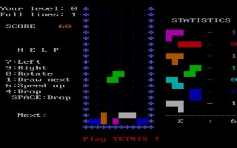 O Tetris, jogabilidade extremamente simples, porém incrivelmente viciante.