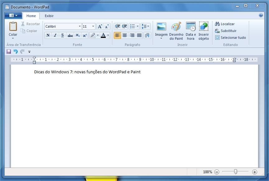 Nova interface do WordPad.