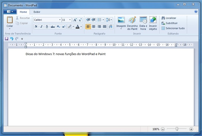 Nova interface do WordPad.