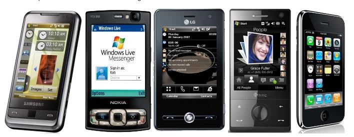Alguns dos smartphones mais famosos do mercado.