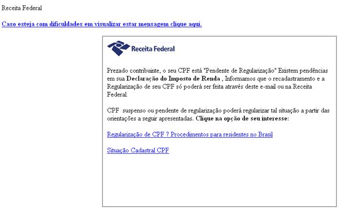 Email falso utilizando o nome da Receita Federal. Fuja dele!