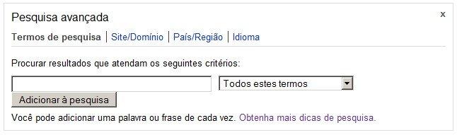 Pesquisa avançada Bing