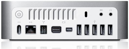 Os principais botões e portas estão na parte traseira do Mac Mini!