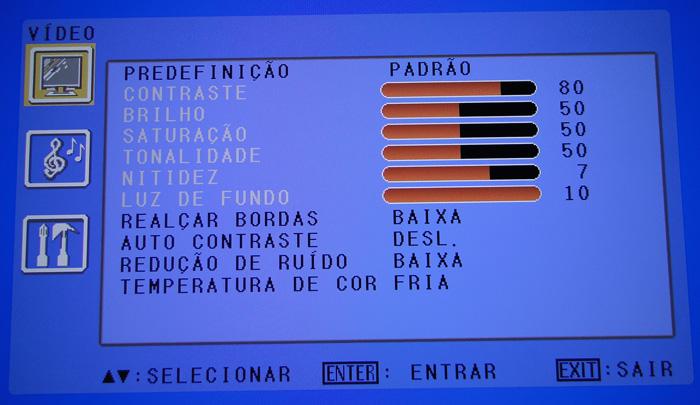 Exemplo de menu de configuração.