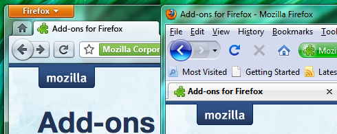 Visual do novo Firefox e comparativo com a versão atual. Foto: reprodução blog Stephen Horlander.