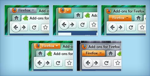 Visual do novo Firefox com diferentes personalizações. Foto: reprodução blog Stephen Horlander.