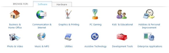 A primeira opção de busca é navegar pelas categorias.