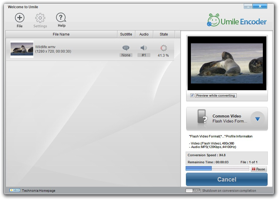 Umile Encoder - Imagem 1 do software