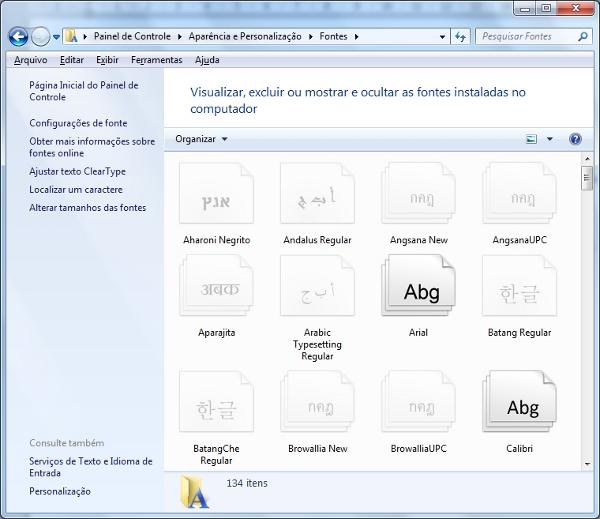 Gerenciador de fontes do Windows 7