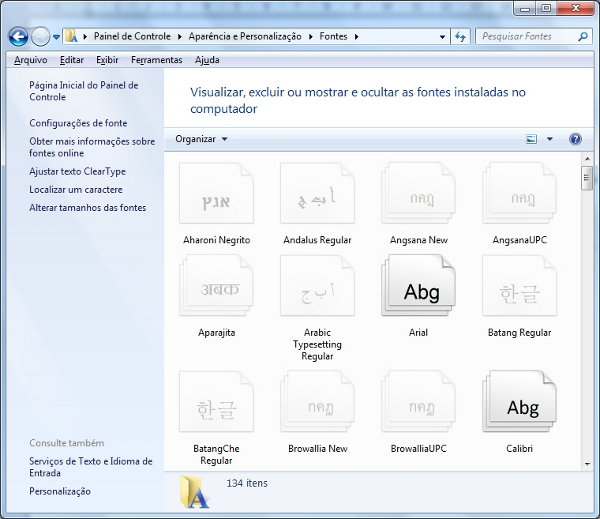 Gerenciador de fontes do Windows 7