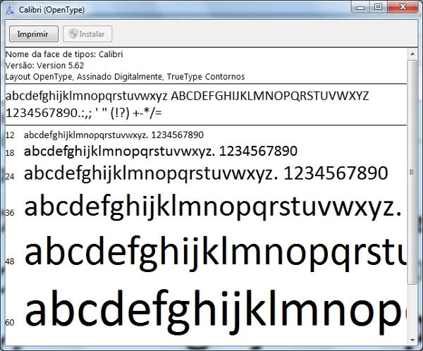 Fonte padrão do Windows 7: Calibri