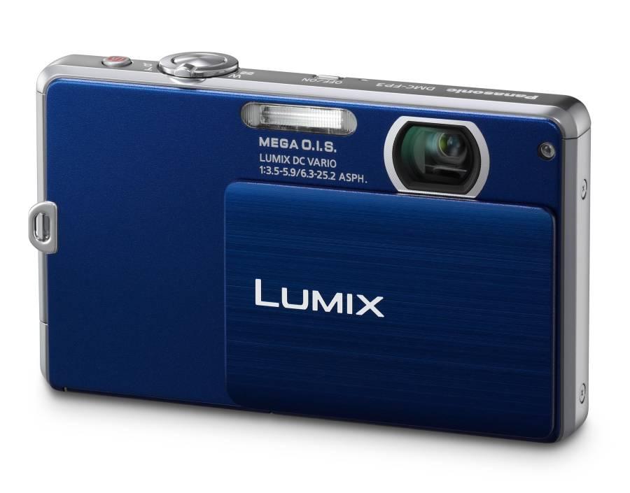 Lumix na cor azul com abertura para baixo