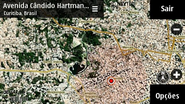 Nokia Mapas com exibição mista de imagem do satélite e mapa