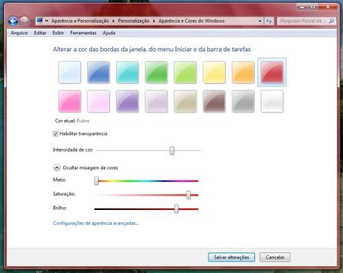 Se preferir, ajuste também a cor das janelas.